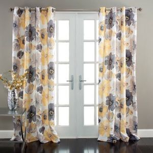 Yellow floral black out curtains 2 panels